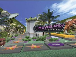 A (hopefully) very rough computer mockup of what Yahoo's Movieland will look like.