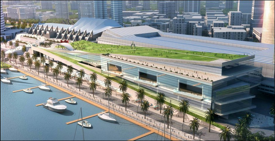 Artist rendering of the San Diego Convention Center proposed expansion.