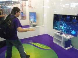 Some sort of Rez like game using the xbox Kinect by seamus_walsh, on Flickr