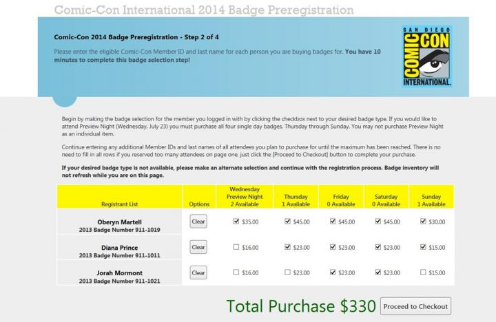 Simply click the box by 'Preview Night' to get all four day badges and PN!