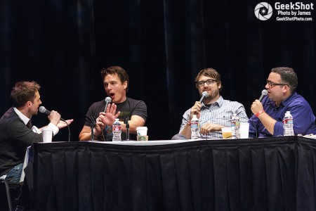 The Nerdist hosts with John Barrowman at the 2012 live show.