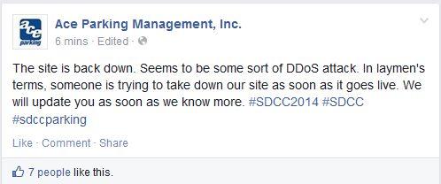 Ace Parking Facebook DDoS Explaination