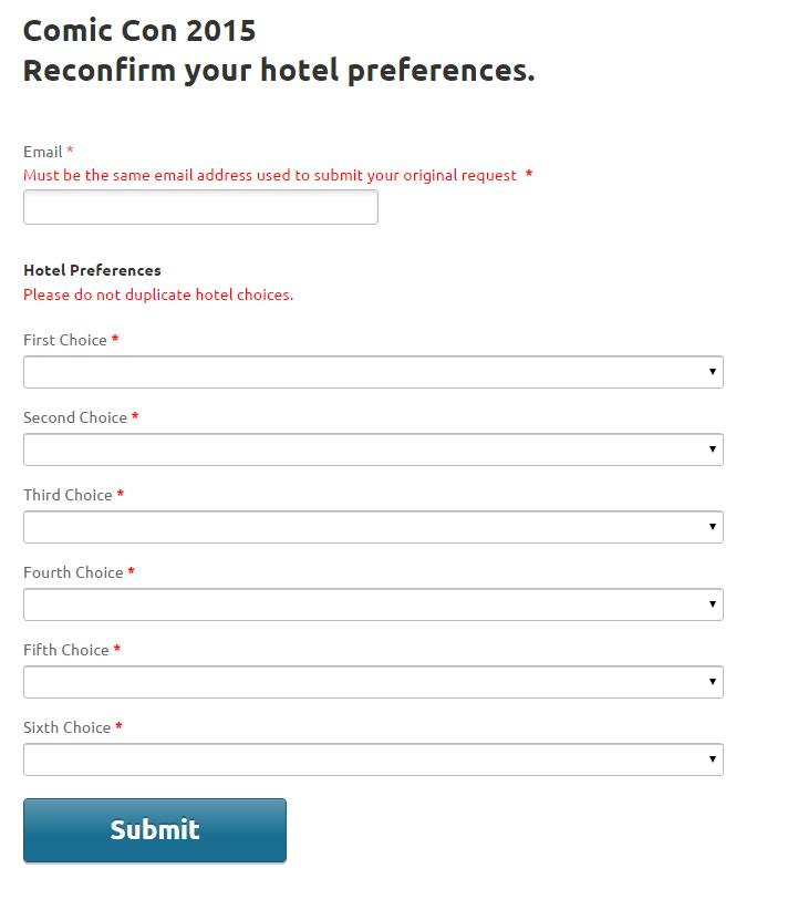 2015 hotel choice travel planners dropdown error