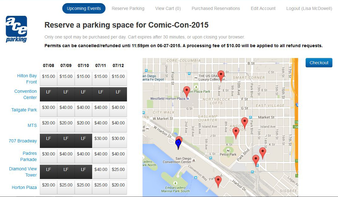 sdcc parking availability