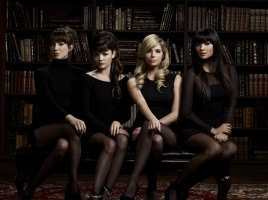 """PRETTY LITTLE LIARS - ABC Family's """"Pretty Little Liars"""" stars Troian Bellisario as Spencer Hastings, Lucy Hale as Aria Montgomery, Ashley Benson as Hanna Marin and Shay Mitchell as Emily Fields. (ABC FAMILY/MATHIEU YOUNG)"""
