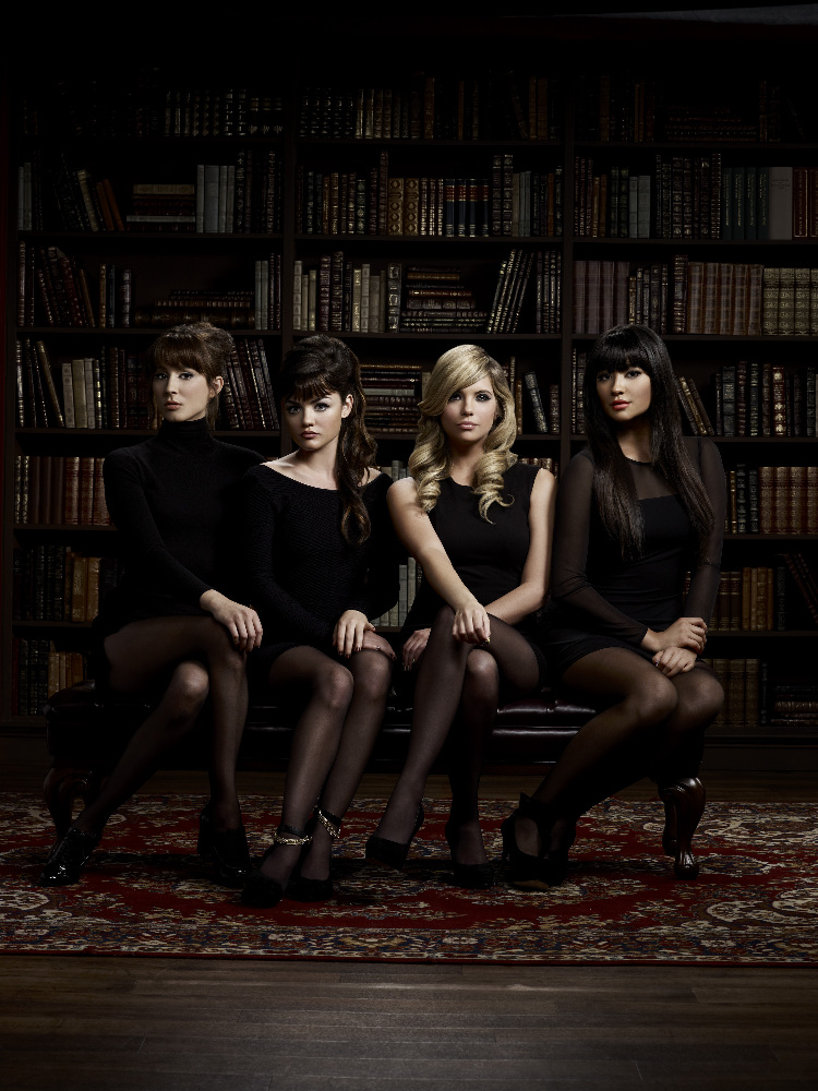 "PRETTY LITTLE LIARS - ABC Family's ""Pretty Little Liars"" stars Troian Bellisario as Spencer Hastings, Lucy Hale as Aria Montgomery, Ashley Benson as Hanna Marin and Shay Mitchell as Emily Fields. (ABC FAMILY/MATHIEU YOUNG)"