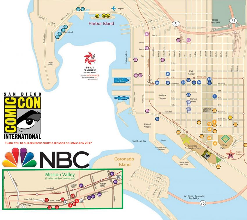 SDCC Shuttle Map Schedule Revealed San Diego ComicCon - San diego on us map