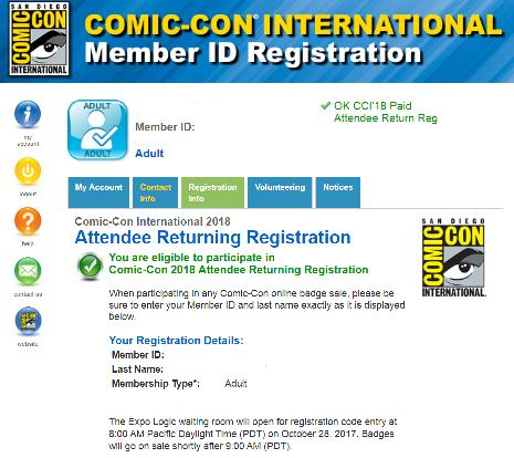 San Diego Comic-Con Returning Registration 2018 Visual Guide
